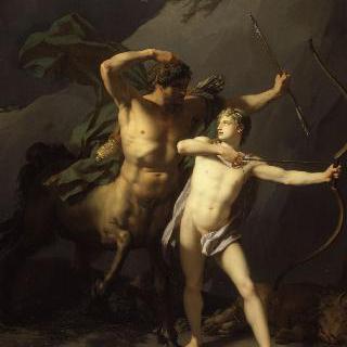 켄타우로스 케이론에 의해 교육받는 아킬레우스