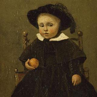 오렌지를 들고있는 화가 아돌프 데브로세 아이