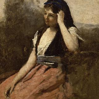 분홍 치마를 입은 젊은 여인(왼쪽 팔에 기댄 젊은 여인)