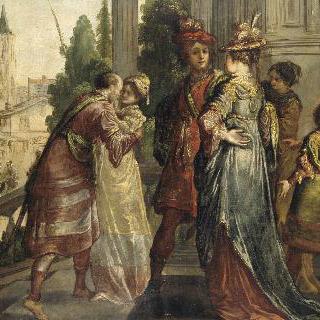 성의 계단 참에서 벌어진 기사단과 여인들의 모임