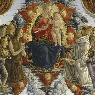 성 베네딕토와 막달라 마리아, 천사에게 둘러싸인 영광의 성 모자상