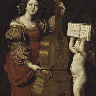 성녀 세실리아와 악보를 들고있는 천사