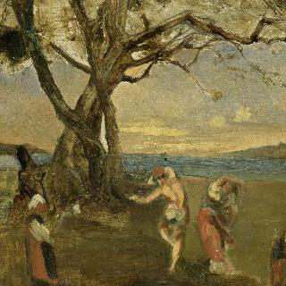 나폴리 만에서 타란텔라 춤을 추는 젊은이들