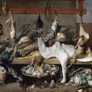 물고기와 채소, 사냥한 고기들이 있는 식탁