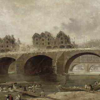 1786년, 철거되는  노트르담 다리 위의 집들