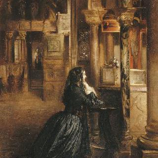 베니스의 성 마르코 성당에서 기도하는 여인