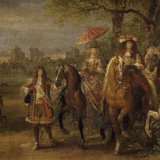 1669년 뱅센 성 앞에서 산책하는 루이 14세와 마리-테레즈