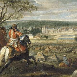 루이 14세와 마리 테레즈가있는 퐁텐블로 성의 전경