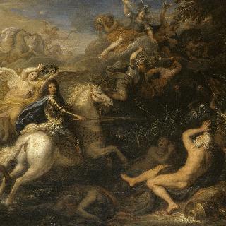 톨휘스 앞에서 라인 강을 횡단하는 루이 14세의 군대에 대한 우의화