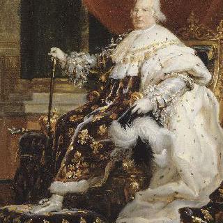 황실 복장을 입고 왕좌에 앉은 프랑스의 왕 루이 18세