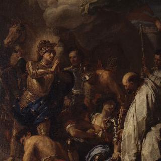이집트 망수라 전쟁후에 상처입은 사람들을 치료하는 성 루이