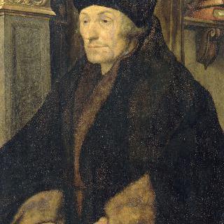 두 손을 책 위에 올려 놓은 에라스무스