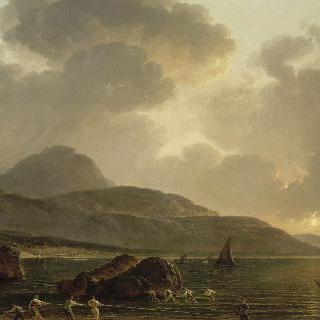 바다. 나폴리 부근의 전경