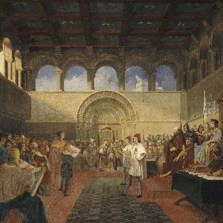 예루살렘 왕국의 첫번째 중죄 재판을 열고있는 고드프로이 드 부이용