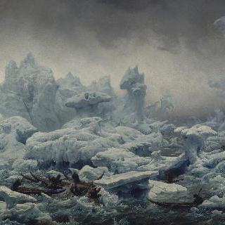 언 바다에서 해마 낚시를 하는 그린란드 사람들이 있는 전경