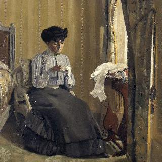 실내에서 바느질하는 여인