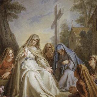 십자가 그림자 아래에서 과부들과 젊은 사람들을 교육하는 성녀 랑드라드