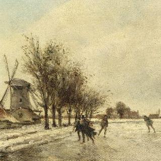 왼쪽으로 보이는 풍차와 스케이트타는 네덜란드 사람들