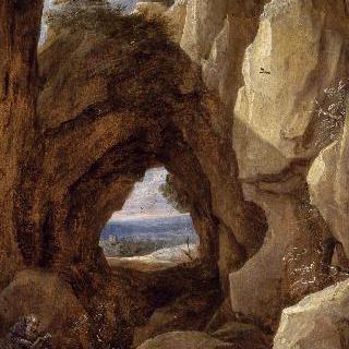 동굴에서 명상중인 에르미트