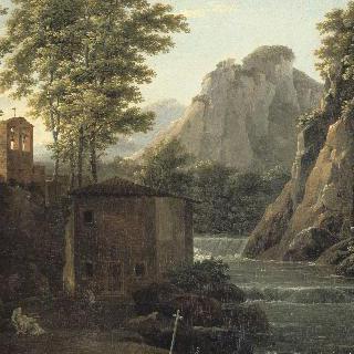 외진 오두막집과 급류가 있는 산의 풍경