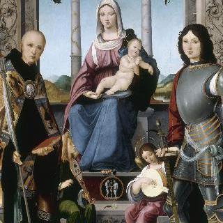두 천사와 성 퀸티누스과 성 베네딕토에 둘러싸인 성 모자상