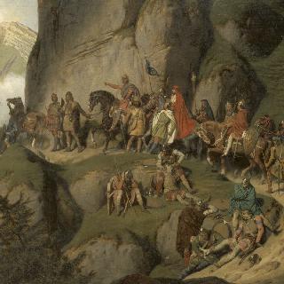 롬바르디아 왕 디디에와의 결투를 위해 알프스를 넘는 샤를르마뉴