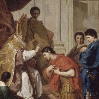 밀라노 대주교 생 오렐리우스 암브로시우스의 사과를 받는 테오도즈 황제