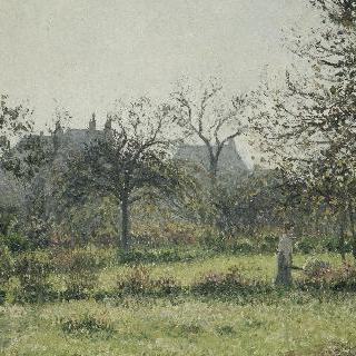 가을날의 오전, 마당 과수원에 있는 여인