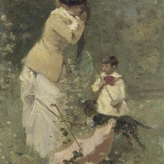 여인과 아이가 있는 풍경
