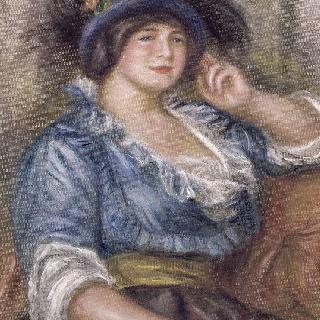 장미를 단 젊은 여인, 푸른 옷을 입은 여인