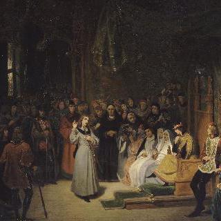 1429년 2월, 샤를 7세 앞에서 질문을 던지는 고위 성직자들에게 대답하는 잔 다르크