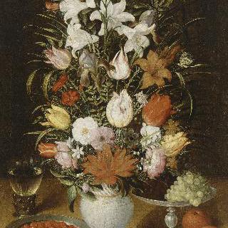 꽃병, 과일과 물잔이 있는 정물
