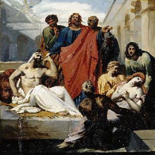 베싸이다 연못에서 병자를 치료하는 예수