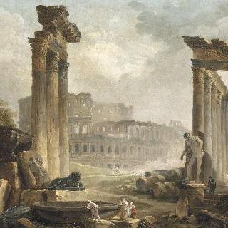 콜로세움이 있는 로마의 폐허