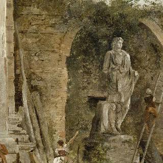 벽감 안의 동상이 있는 풍경화