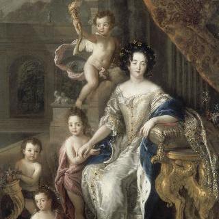 1677년 첫번째 혼인에서 얻은 4명의 아이들에게 둘러싸인 몽테스팡 후작부인