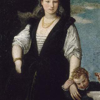 아이와 개와 함께 있는 여인의 초상