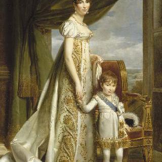 왕자와 함께 있는 네덜란드의 여왕 오르탕즈의 초상