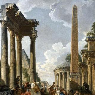 로마 폐허 안의 설교자가 있는 환상 속의 건축물