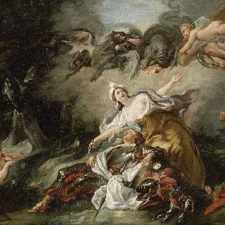 르노를 죽이기 직전, 잠든 르노에 반해 무기를 버리는 아르미드