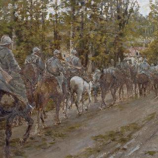 코르시를 횡단하는 망갱 군대의 기병들