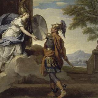 메두사와의 싸움에 사용할 방패를 페르세우스에게 돌려주는 미네르바
