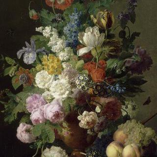 꽃병, 포도와 복숭아
