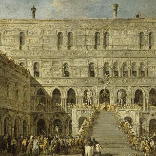 베니스의 두칼레 궁전 거인 다리 위에서 총독의 대관식