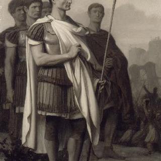 군단의 병사들 한 가운데 있는 쥘 세자르 (줄리어스 시저)