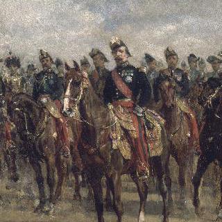 연대부관들에 둘러싸여 말에 탄 황제 나폴레옹 3세