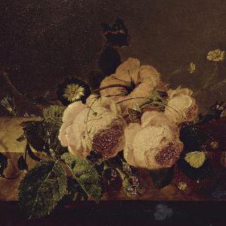 저부조 위에 올려진 장미와 나미