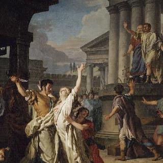 딸 비르지니를 단도로 찌르려고 하는 비르길리우스