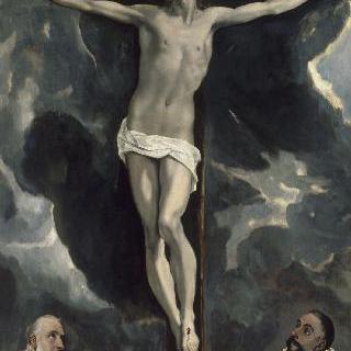 두 경배자에 의해 추앙 받는 십자가에 못박힌 예수