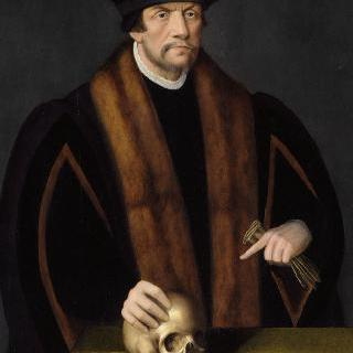 오른손을 머리에 올리고 있는 남자의 초상